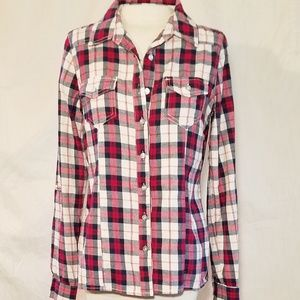 Red Plaid Button Up Rue 21 Top